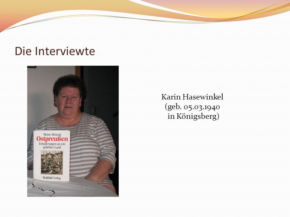 Die Interviewte Karin Hasewinkel (geb. 05.03.1940 in Königsberg)