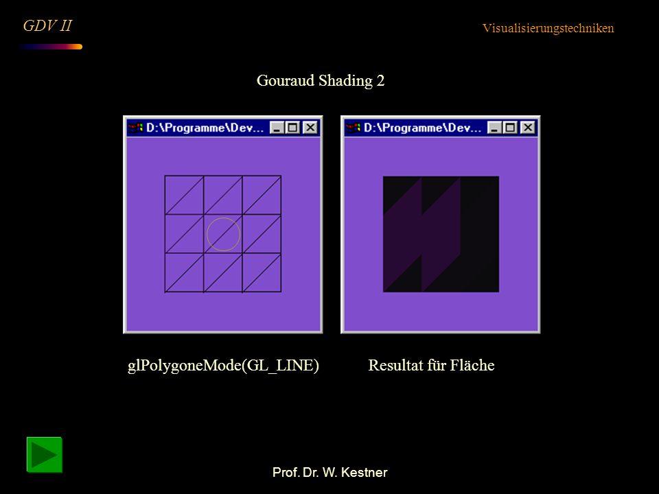 Prof. Dr. W. Kestner Gouraud Shading 2 Visualisierungstechniken GDV II glPolygoneMode(GL_LINE)Resultat für Fläche