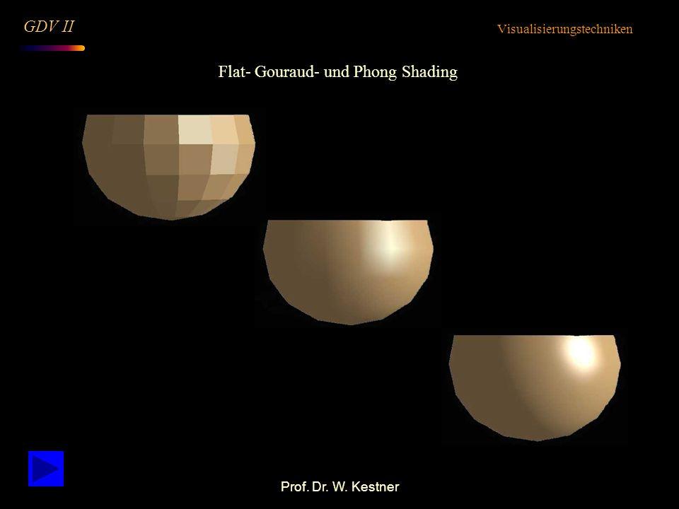 Prof. Dr. W. Kestner Flat- Gouraud- und Phong Shading Visualisierungstechniken GDV II
