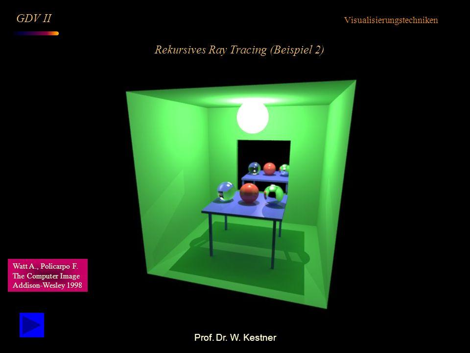 Prof. Dr. W. Kestner Rekursives Ray Tracing (Beispiel 2) Visualisierungstechniken GDV II Watt A., Policarpo F. The Computer Image Addison-Wesley 1998
