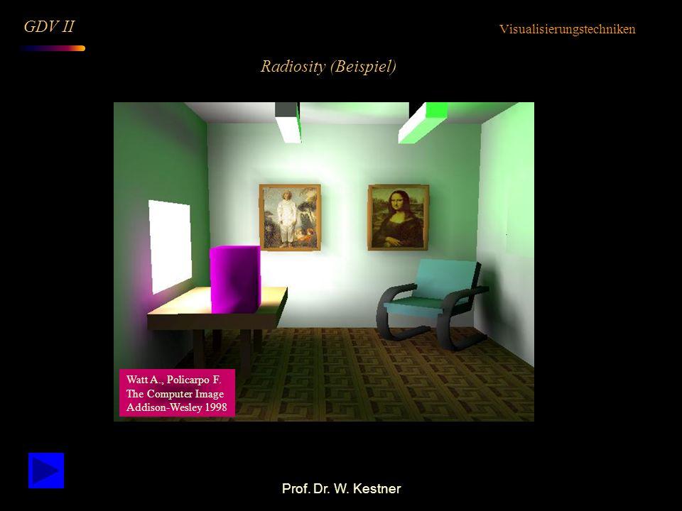 Prof. Dr. W. Kestner Radiosity (Beispiel) Visualisierungstechniken GDV II Watt A., Policarpo F. The Computer Image Addison-Wesley 1998