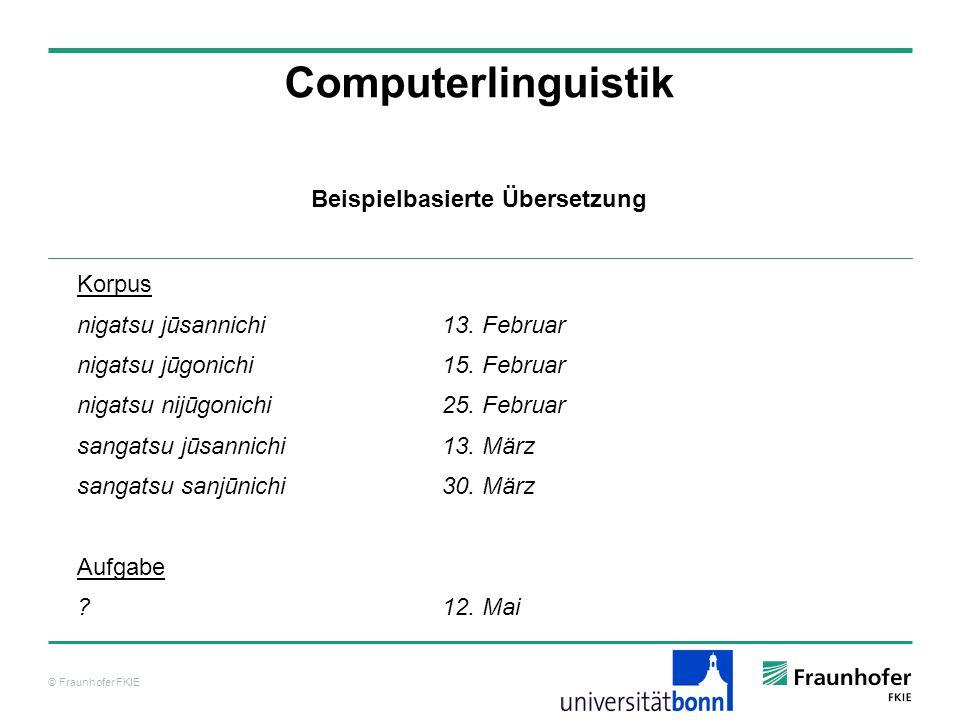 © Fraunhofer FKIE Computerlinguistik Korpus nigatsu jūsannichi13. Februar nigatsu jūgonichi15. Februar nigatsu nijūgonichi25. Februar sangatsu jūsanni