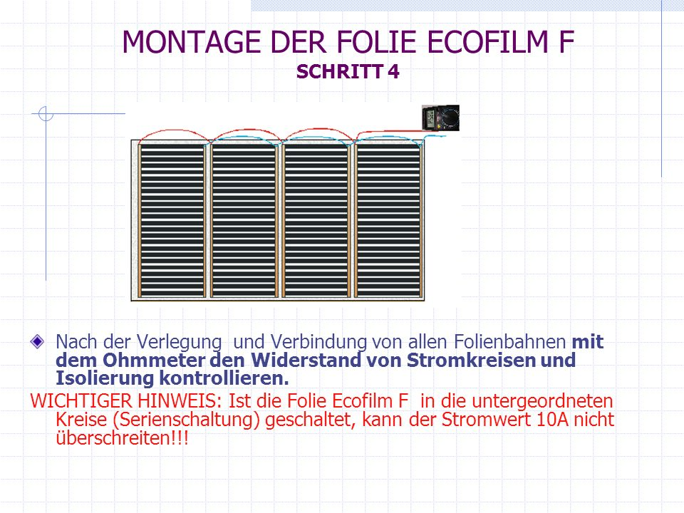 MONTAGE DER FOLIE ECOFILM F SCHRITT 4 Nach der Verlegung und Verbindung von allen Folienbahnen mit dem Ohmmeter den Widerstand von Stromkreisen und Is