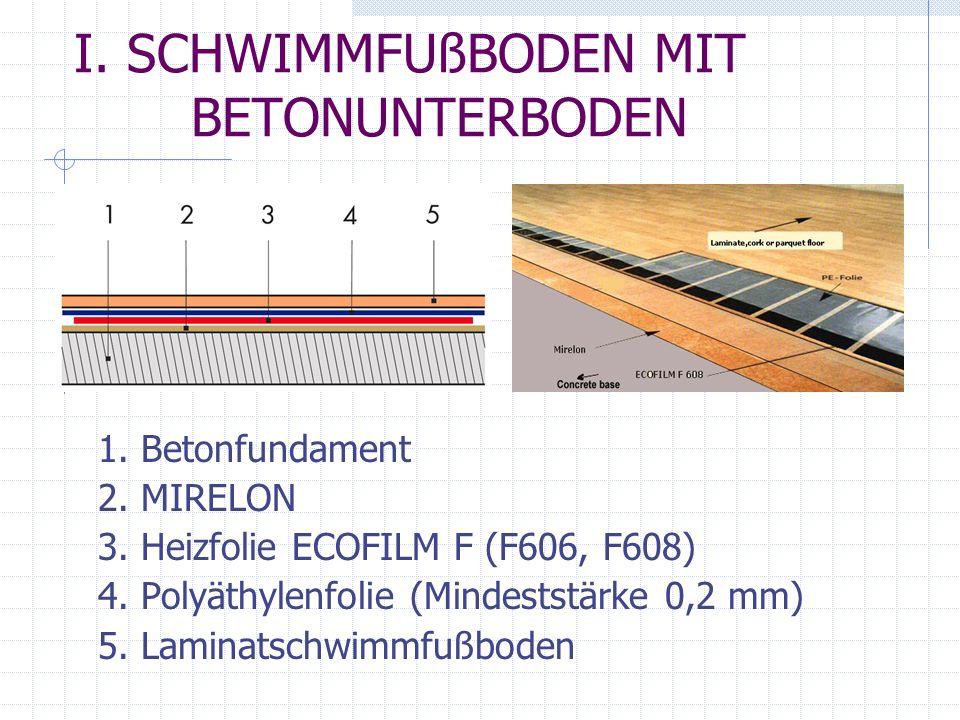 I. SCHWIMMFUßBODEN MIT BETONUNTERBODEN 1. Betonfundament 2. MIRELON 3. Heizfolie ECOFILM F (F606, F608) 4. Polyäthylenfolie (Mindeststärke 0,2 mm) 5.