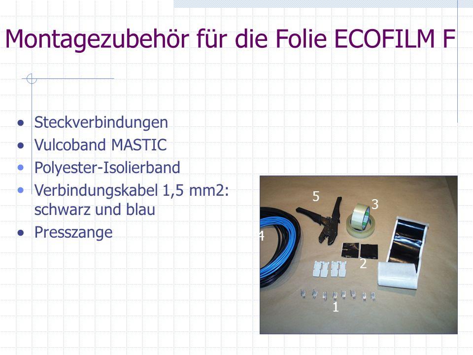 Montagezubehör für die Folie ECOFILM F Steckverbindungen Vulcoband MASTIC Polyester-Isolierband Verbindungskabel 1,5 mm2: schwarz und blau Presszange