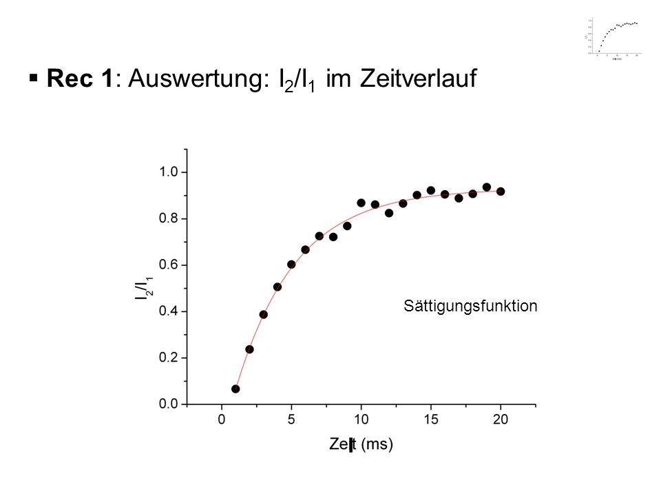Rec 1: Auswertung: I 2 /I 1 im Zeitverlauf Sättigungsfunktion