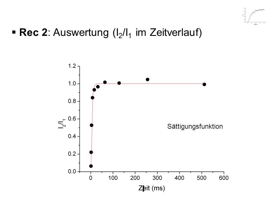 Rec 2: Auswertung (I 2 /I 1 im Zeitverlauf) Sättigungsfunktion