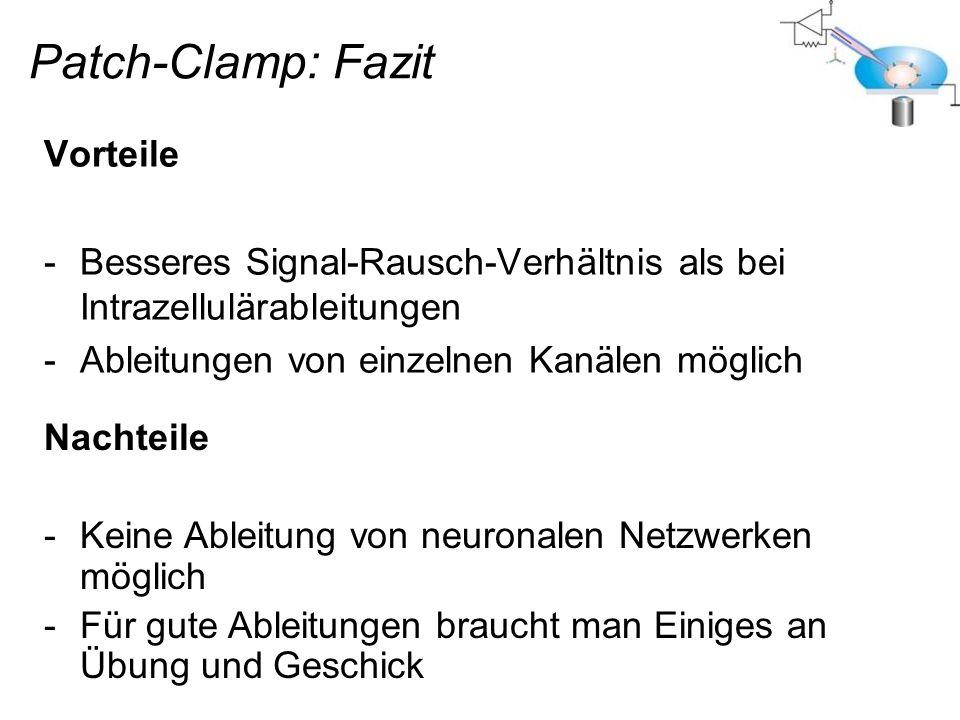 Patch-Clamp: Fazit Vorteile -Besseres Signal-Rausch-Verhältnis als bei Intrazellulärableitungen -Ableitungen von einzelnen Kanälen möglich Nachteile -