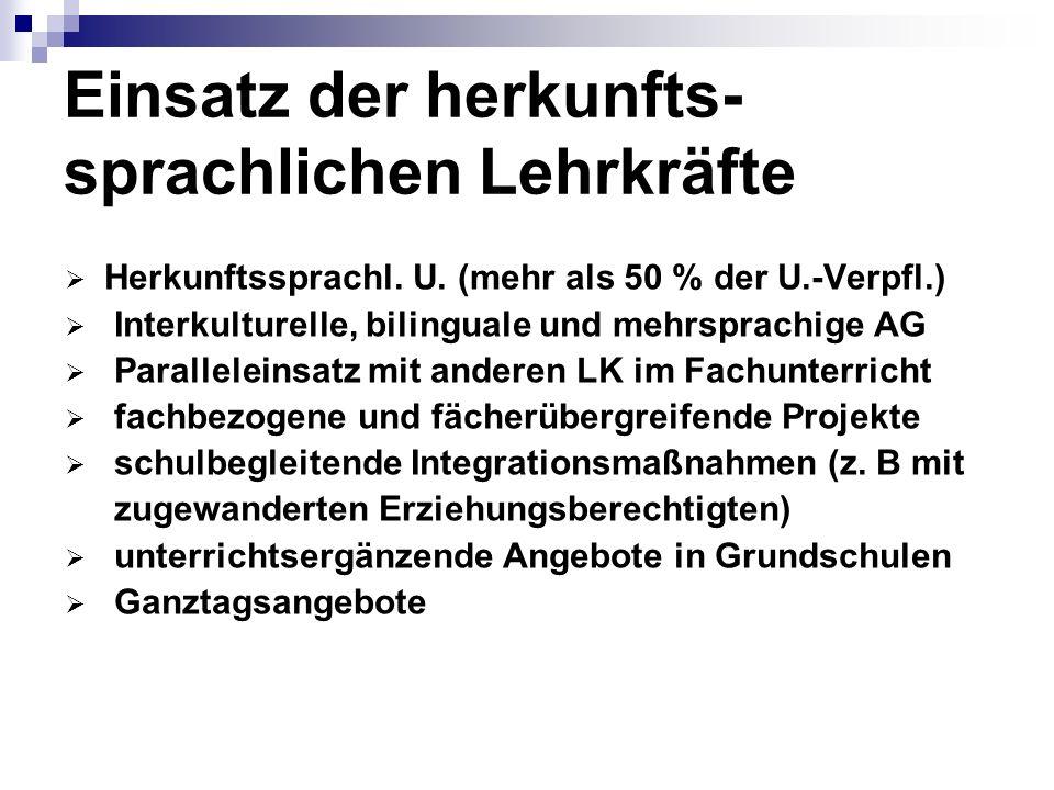 Einsatz der herkunfts- sprachlichen Lehrkräfte Herkunftssprachl. U. (mehr als 50 % der U.-Verpfl.) Interkulturelle, bilinguale und mehrsprachige AG Pa