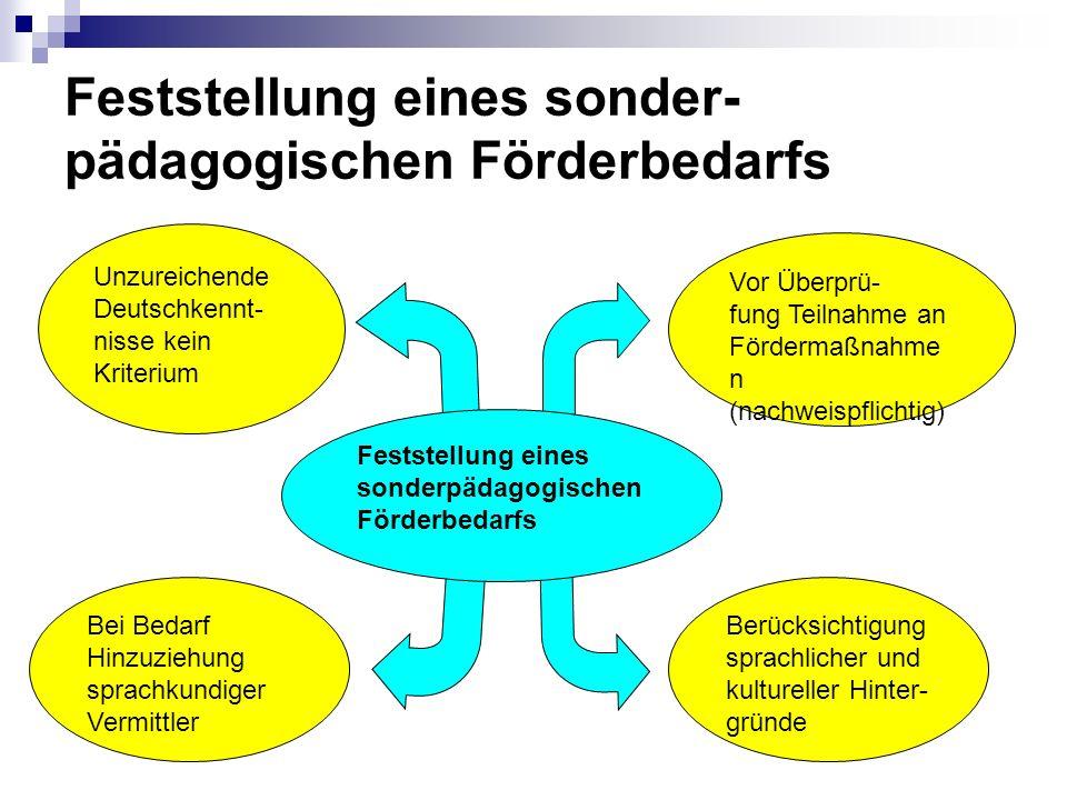 Unzureichende Deutschkennt- nisse kein Kriterium Bei Bedarf Hinzuziehung sprachkundiger Vermittler Berücksichtigung sprachlicher und kultureller Hinte