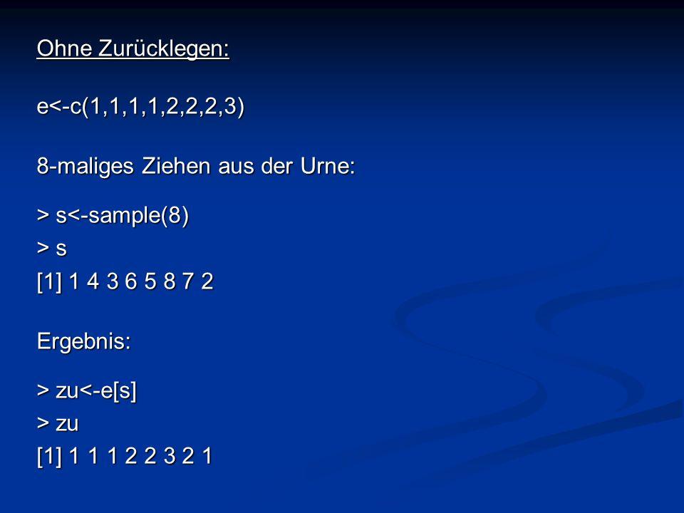 Ohne Zurücklegen: e<-c(1,1,1,1,2,2,2,3) 8-maliges Ziehen aus der Urne: > s s<-sample(8) > s [1] 1 4 3 6 5 8 7 2 Ergebnis: > zu zu<-e[s] > zu [1] 1 1 1