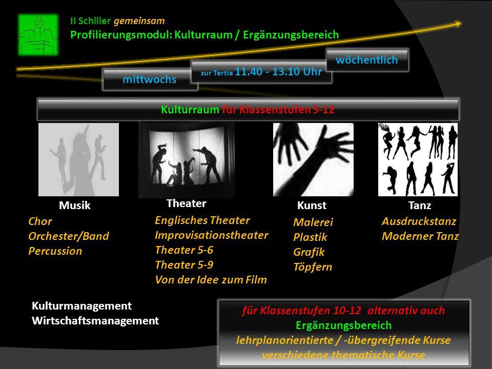 II Schiller gemeinsam Profilierungsmodul: Kulturraum / Ergänzungsbereich Theater TanzKunst Chor Orchester/Band Percussion Englisches Theater Improvisa