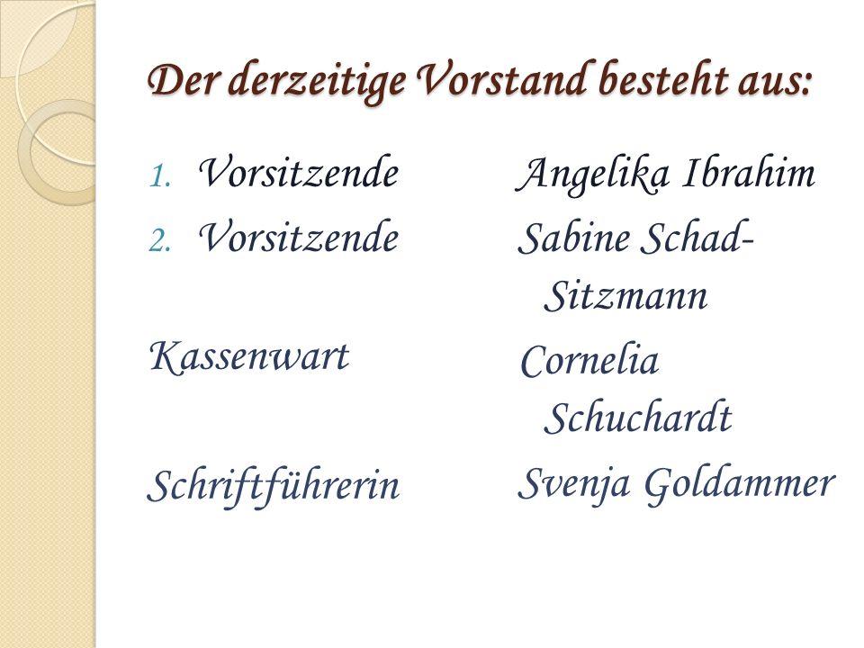 Der derzeitige Vorstand besteht aus: 1. Vorsitzende 2. Vorsitzende Kassenwart Schriftführerin Angelika Ibrahim Sabine Schad- Sitzmann Cornelia Schucha