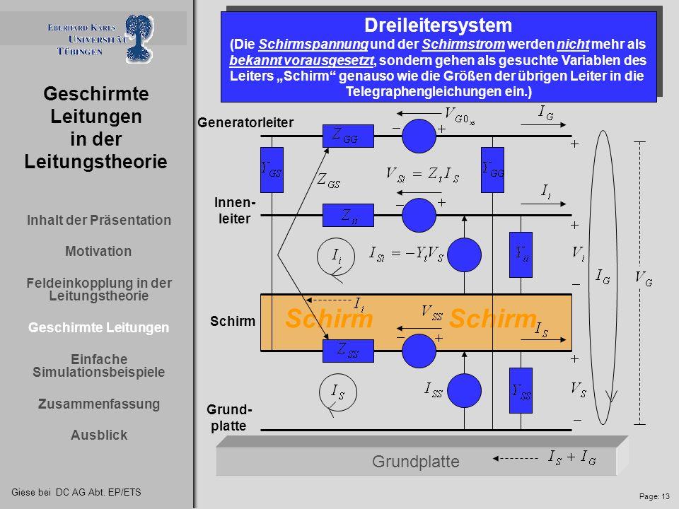 Giese bei DC AG Abt. EP/ETS Page: 12 Geschirmte Leitungen in der Leitungstheorie Geschirmte Leitungen Das System bestehend aus Schirm und Innen- leite