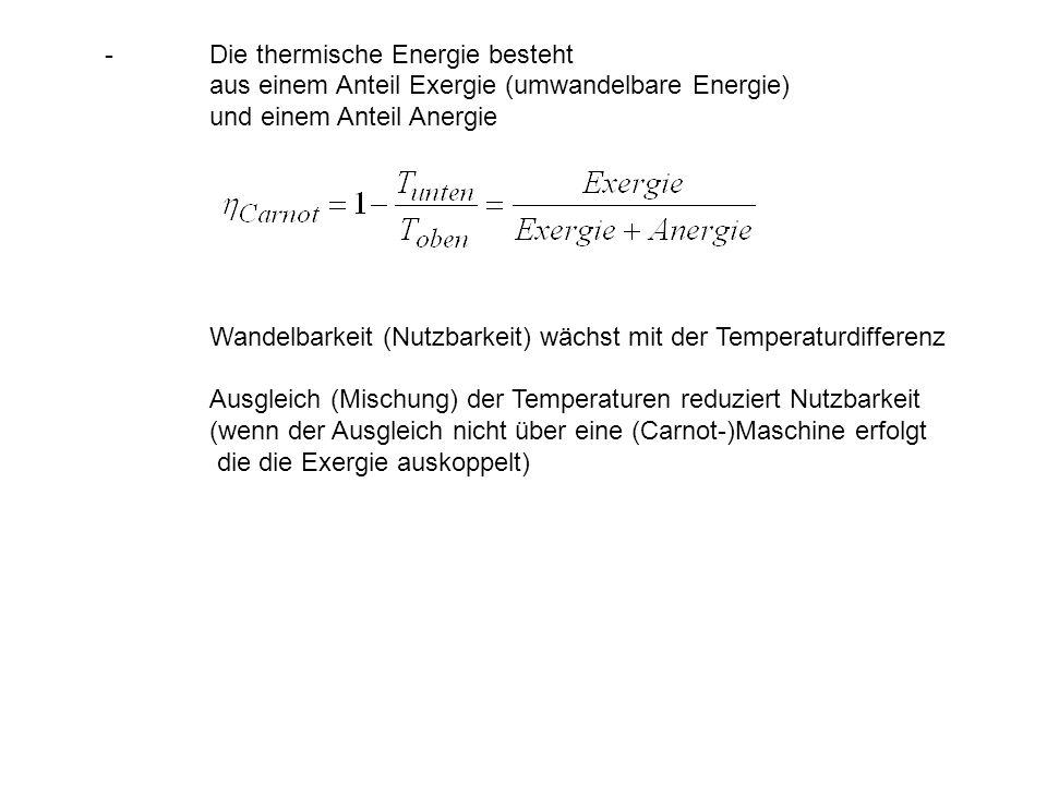 - Die thermische Energie besteht aus einem Anteil Exergie (umwandelbare Energie) und einem Anteil Anergie Wandelbarkeit (Nutzbarkeit) wächst mit der T
