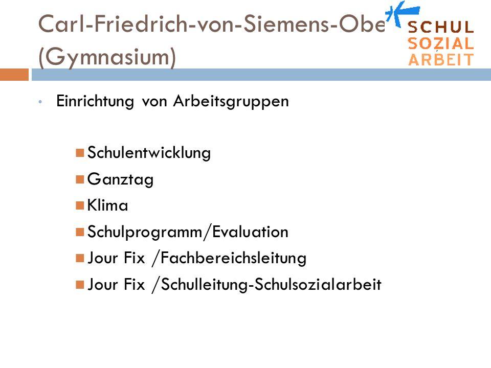Carl-Friedrich-von-Siemens-Oberschule (Gymnasium) Einrichtung von Arbeitsgruppen Schulentwicklung Ganztag Klima Schulprogramm/Evaluation Jour Fix /Fac