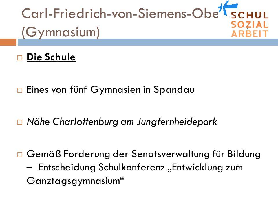 Carl-Friedrich-von-Siemens-Oberschule (Gymnasium) Die Schule Eines von fünf Gymnasien in Spandau Nähe Charlottenburg am Jungfernheidepark Gemäß Forder
