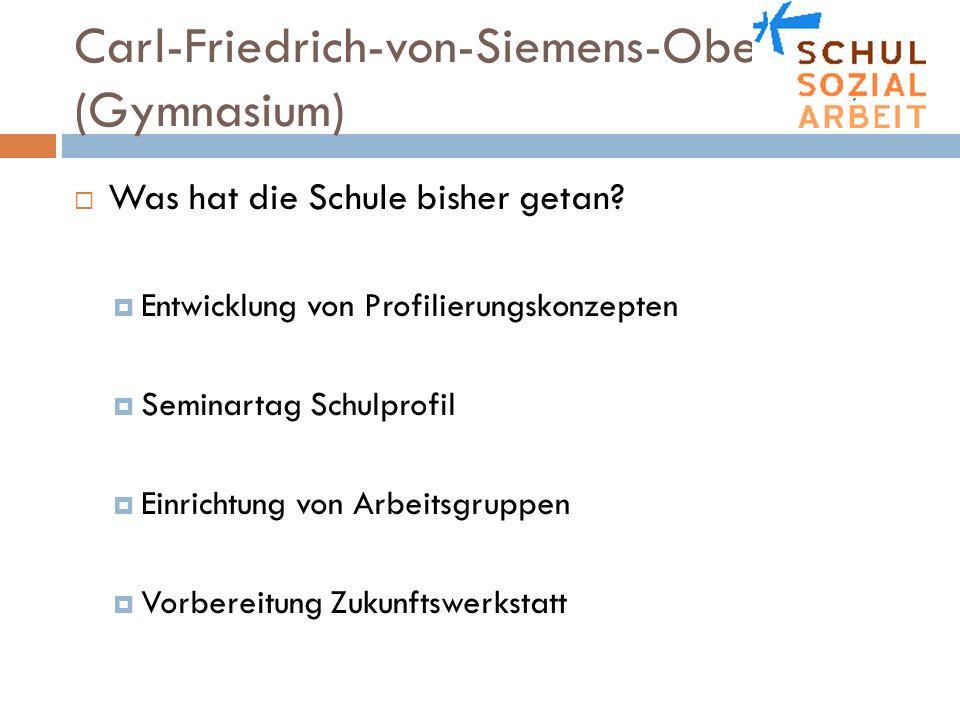 Carl-Friedrich-von-Siemens-Oberschule (Gymnasium) Was hat die Schule bisher getan? Entwicklung von Profilierungskonzepten Seminartag Schulprofil Einri
