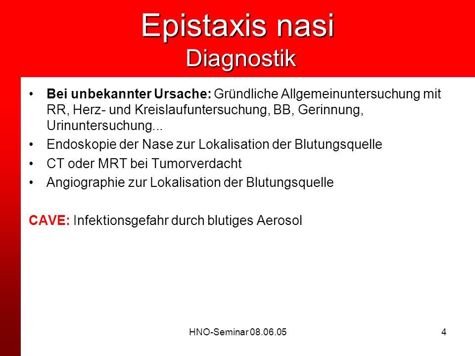 HNO-Seminar 08.06.054 Epistaxis nasi Diagnostik Bei unbekannter Ursache: Gründliche Allgemeinuntersuchung mit RR, Herz- und Kreislaufuntersuchung, BB,