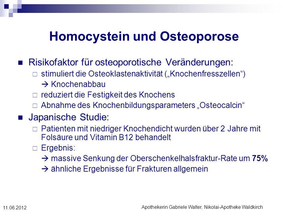Apothekerin Gabriele Walter, Nikolai-Apotheke Waldkirch 11.06.2012 Homocystein und Osteoporose Risikofaktor für osteoporotische Veränderungen: stimuli