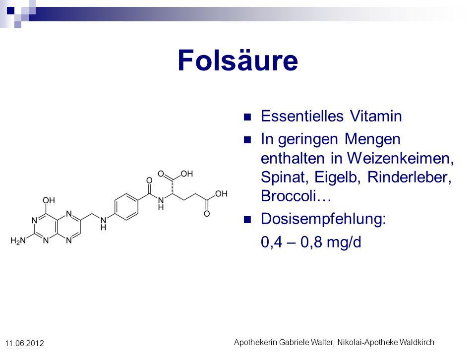 Apothekerin Gabriele Walter, Nikolai-Apotheke Waldkirch 11.06.2012 Folsäure Essentielles Vitamin In geringen Mengen enthalten in Weizenkeimen, Spinat,