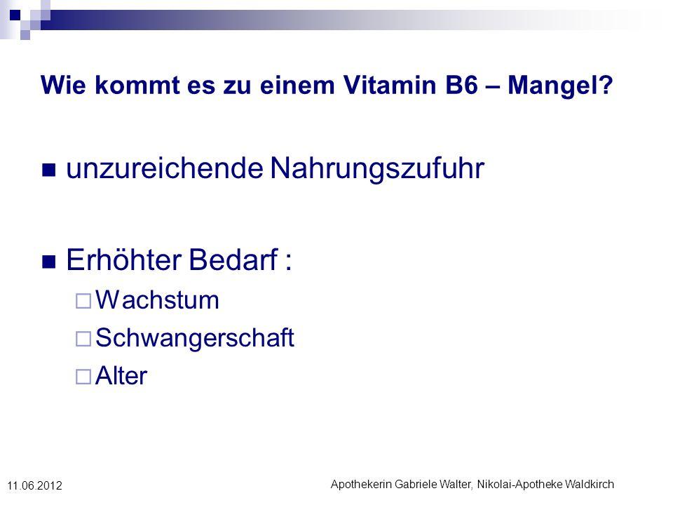 Apothekerin Gabriele Walter, Nikolai-Apotheke Waldkirch 11.06.2012 Wie kommt es zu einem Vitamin B6 – Mangel? unzureichende Nahrungszufuhr Erhöhter Be