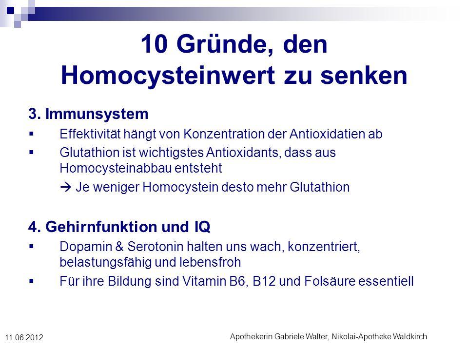 Apothekerin Gabriele Walter, Nikolai-Apotheke Waldkirch 11.06.2012 10 Gründe, den Homocysteinwert zu senken 3. Immunsystem Effektivität hängt von Konz