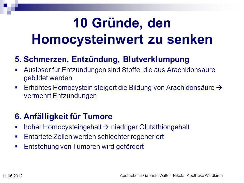 Apothekerin Gabriele Walter, Nikolai-Apotheke Waldkirch 11.06.2012 10 Gründe, den Homocysteinwert zu senken 5. Schmerzen, Entzündung, Blutverklumpung