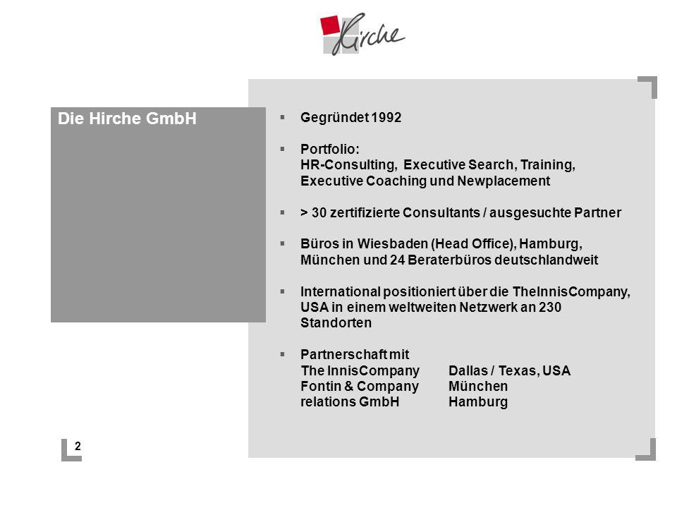 2 Die Hirche GmbH Gegründet 1992 Portfolio: HR-Consulting, Executive Search, Training, Executive Coaching und Newplacement > 30 zertifizierte Consulta