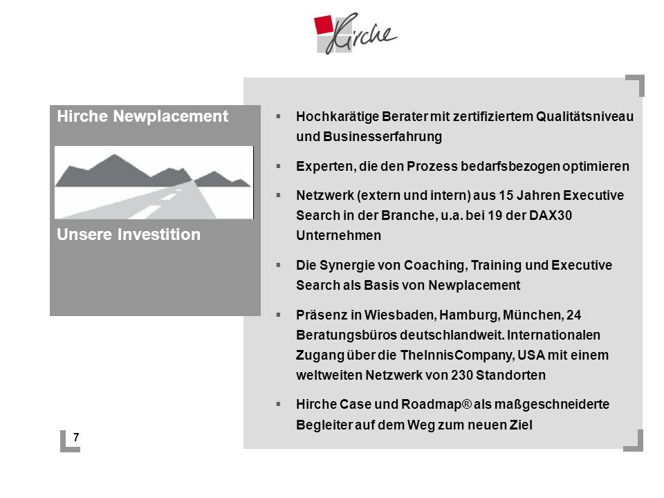 7 Hirche Newplacement Unsere Investition Hochkarätige Berater mit zertifiziertem Qualitätsniveau und Businesserfahrung Experten, die den Prozess bedar