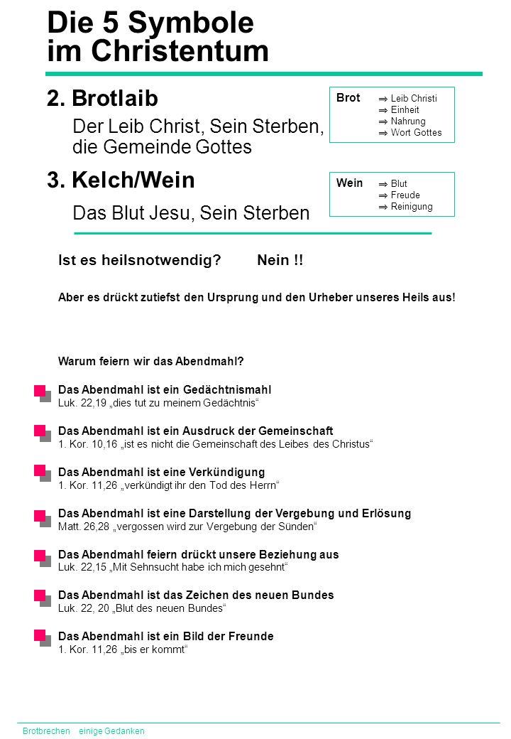 2. Brotlaib 3. Kelch/Wein Der Leib Christ, Sein Sterben, die Gemeinde Gottes Das Blut Jesu, Sein Sterben Brotbrechen einige Gedanken Die 5 Symbole im