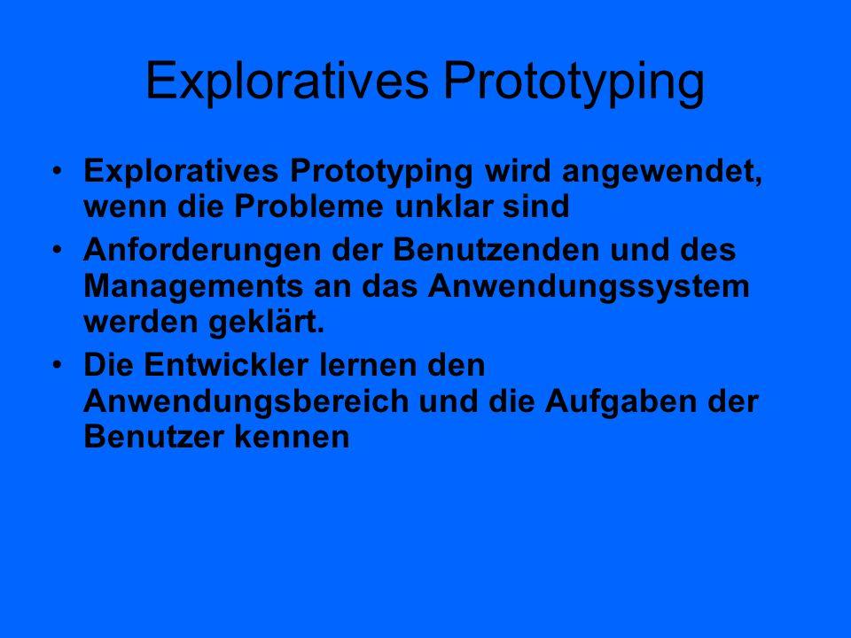 Exploratives Prototyping Exploratives Prototyping wird angewendet, wenn die Probleme unklar sind Anforderungen der Benutzenden und des Managements an