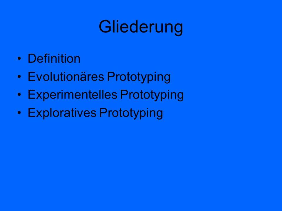 Gliederung Definition Evolutionäres Prototyping Experimentelles Prototyping Exploratives Prototyping