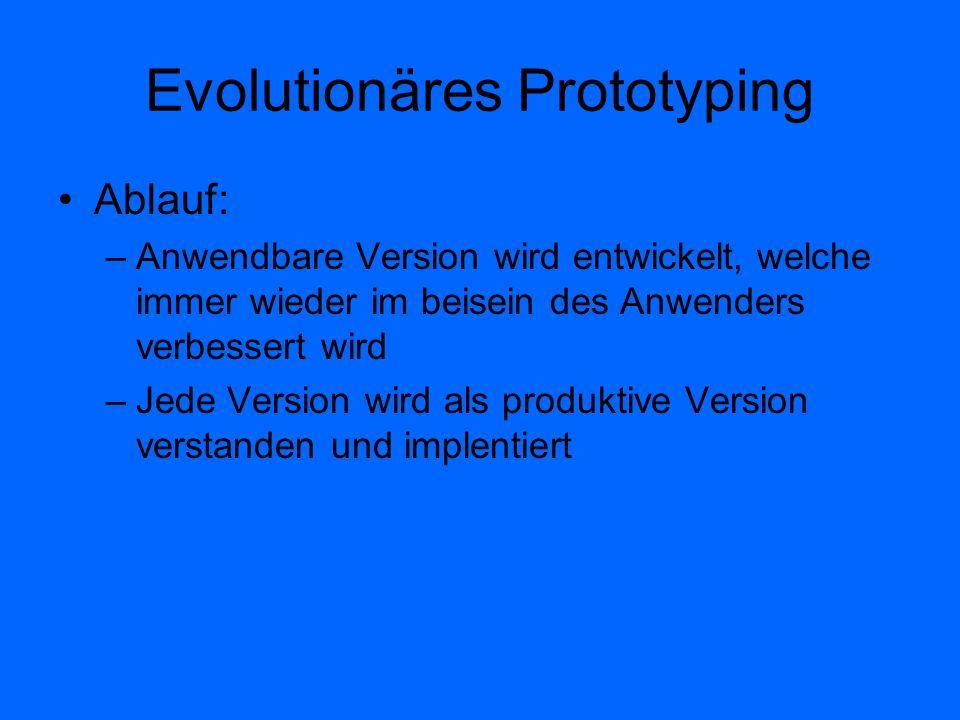 Evolutionäres Prototyping Ablauf: –Anwendbare Version wird entwickelt, welche immer wieder im beisein des Anwenders verbessert wird –Jede Version wird