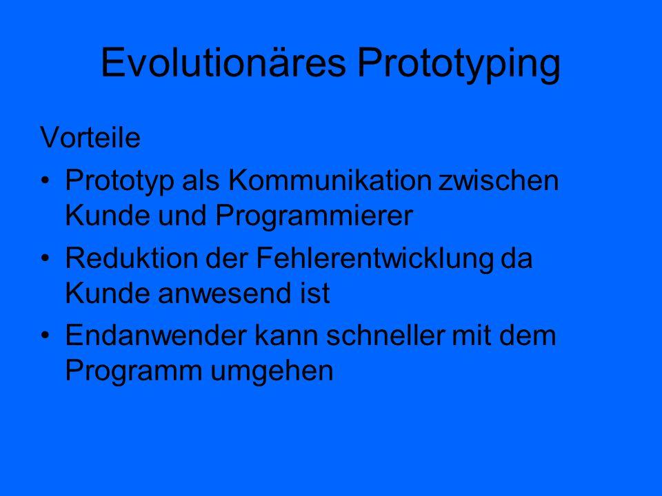 Evolutionäres Prototyping Vorteile Prototyp als Kommunikation zwischen Kunde und Programmierer Reduktion der Fehlerentwicklung da Kunde anwesend ist E