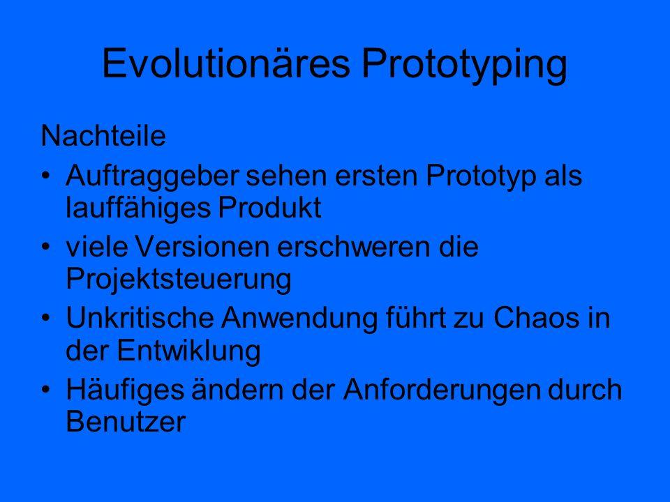 Evolutionäres Prototyping Nachteile Auftraggeber sehen ersten Prototyp als lauffähiges Produkt viele Versionen erschweren die Projektsteuerung Unkriti