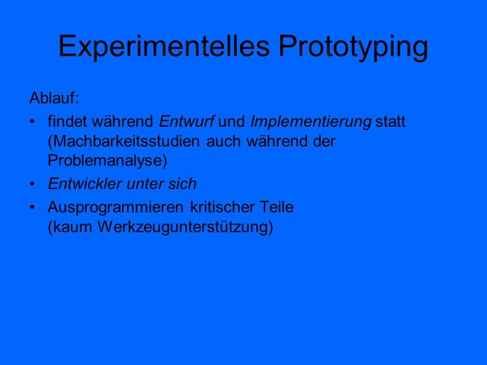 Experimentelles Prototyping Ablauf: findet während Entwurf und Implementierung statt (Machbarkeitsstudien auch während der Problemanalyse) Entwickler