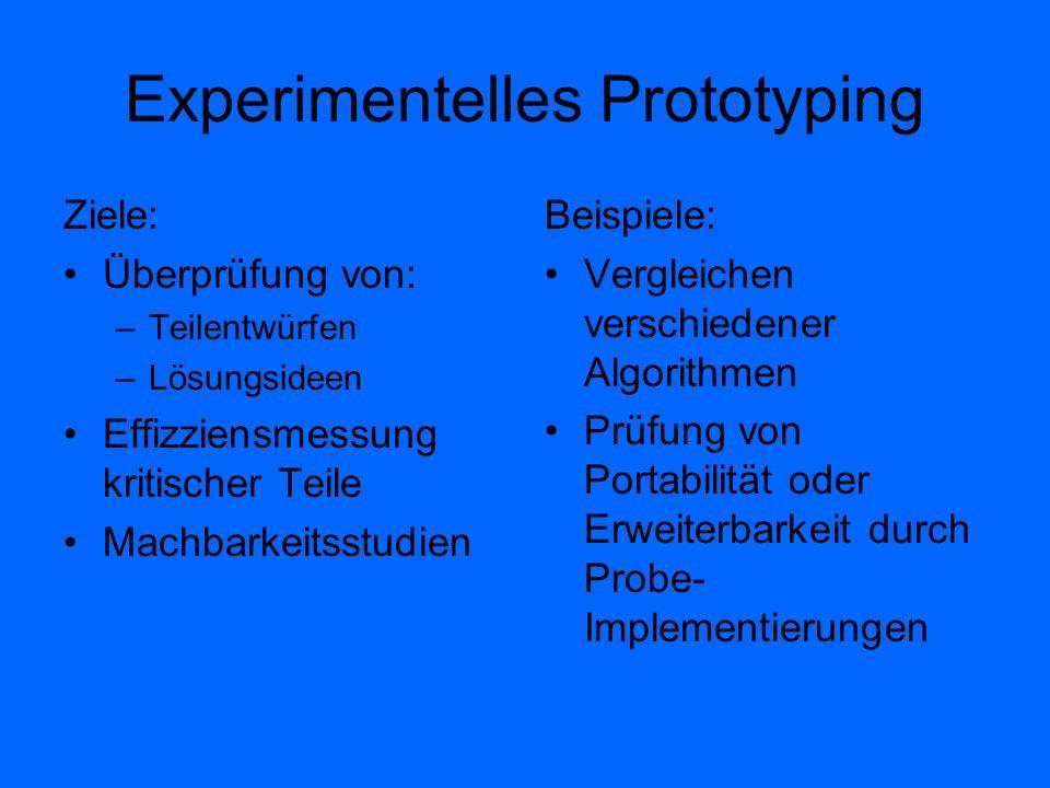 Experimentelles Prototyping Ziele: Überprüfung von: –Teilentwürfen –Lösungsideen Effizziensmessung kritischer Teile Machbarkeitsstudien Beispiele: Ver