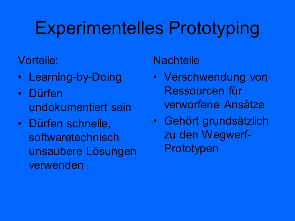Experimentelles Prototyping Vorteile: Learning-by-Doing Dürfen undokumentiert sein Dürfen schnelle, softwaretechnisch unsaubere Lösungen verwenden Nac