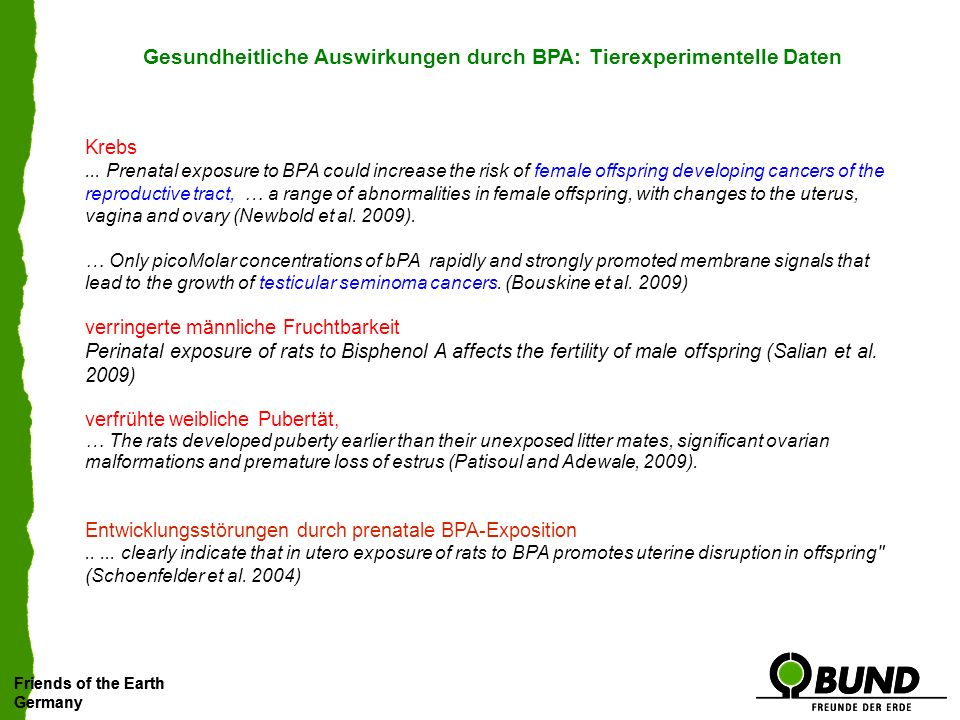 Friends of the Earth Germany Friends of the Earth Germany Weitere Ergebnisse Hemmung der Synapsenbildung im Gehirn BPA bewirkt eine signifikante Hemmung der neuronalen Synapsenbildung in bestimmten Gehirnregionen bereits bei Dosiswerten von 40 μg pro Kilogramm Körpergewicht (MacLusky et al.