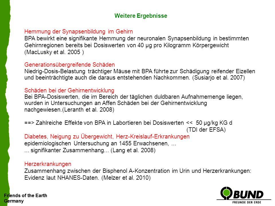 Friends of the Earth Germany Friends of the Earth Germany Eine Revision der TDI-Werte für endokrine Wirkstoffe, insbesondere BPA, unter Berücksichtigung der wissenschaftlichen Kenntnisse zu Niedrigdosiseffekten ist notwendig.
