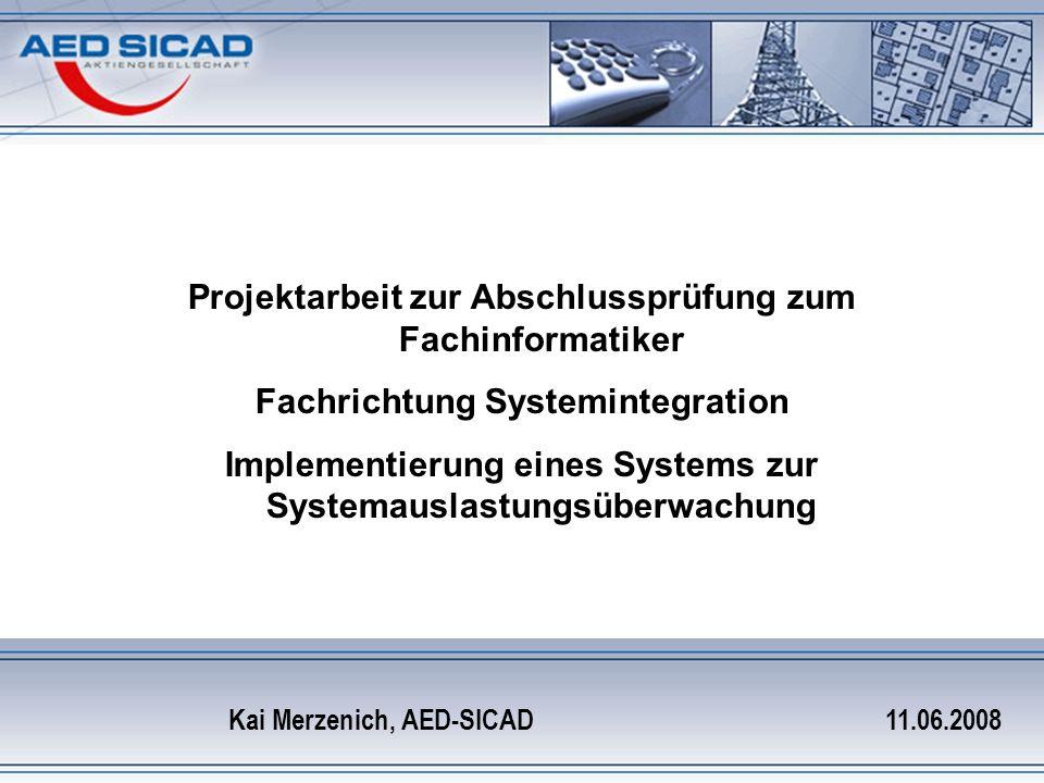 Implementierung eines Systems zur Systemauslastungsüberwachung Agenda Projektumfeld Auftrag/Ziel Komponentenauswahl Kosten Installation/Konfiguration Beispiele Probleme Übergabe