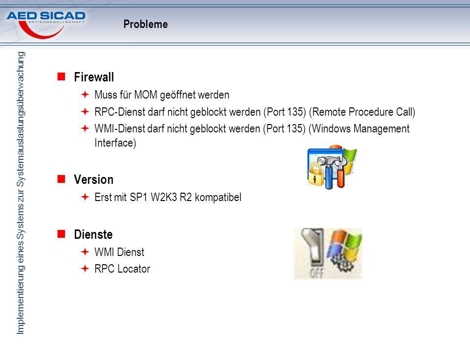 Implementierung eines Systems zur Systemauslastungsüberwachung Probleme Firewall Muss für MOM geöffnet werden RPC-Dienst darf nicht geblockt werden (P