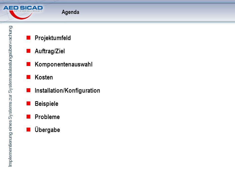 Implementierung eines Systems zur Systemauslastungsüberwachung Projektumfeld AED-SICAD Standort Bonn Weitere Standorte folgen Vorhandene Netzstruktur LAN: 100 Mbit WAN-VPN: 16MBit Serverauslastung unbekannt Netzauslastung Zugriffe CPU Auslastung Auslastung live beobachten