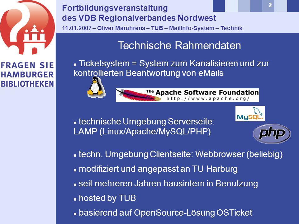 2 Fortbildungsveranstaltung des VDB Regionalverbandes Nordwest 11.01.2007 – Oliver Marahrens – TUB – MailInfo-System – Technik Ticketsystem = System zum Kanalisieren und zur kontrollierten Beantwortung von eMails technische Umgebung Serverseite: LAMP (Linux/Apache/MySQL/PHP) techn.
