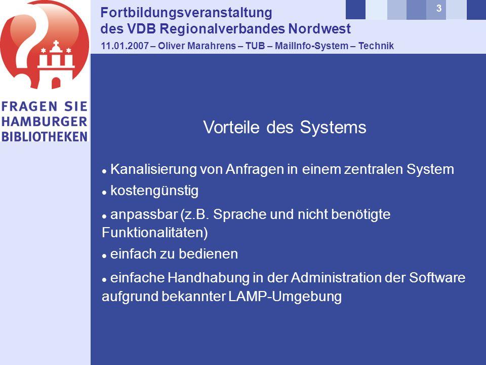 3 Fortbildungsveranstaltung des VDB Regionalverbandes Nordwest 11.01.2007 – Oliver Marahrens – TUB – MailInfo-System – Technik Kanalisierung von Anfragen in einem zentralen System kostengünstig anpassbar (z.B.