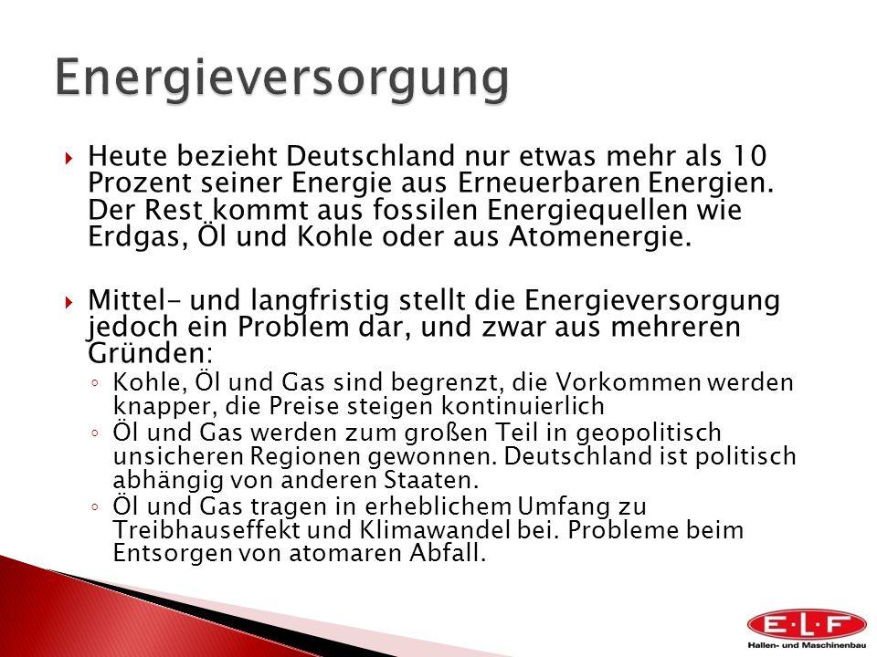 Heute bezieht Deutschland nur etwas mehr als 10 Prozent seiner Energie aus Erneuerbaren Energien. Der Rest kommt aus fossilen Energiequellen wie Erdga