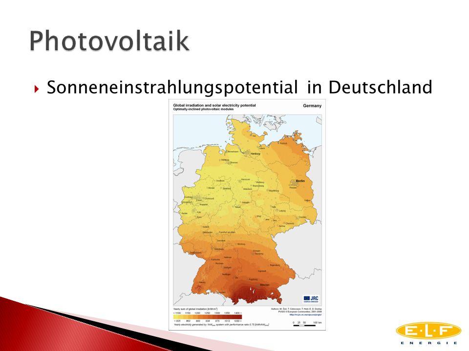 Sonneneinstrahlungspotential in Deutschland