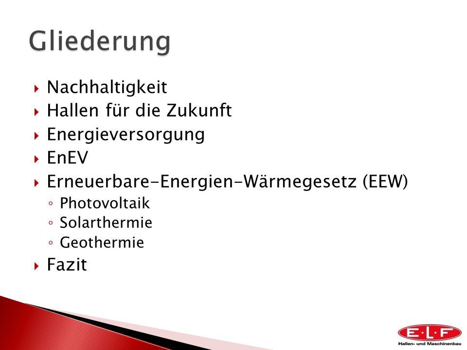 Nachhaltigkeit Hallen für die Zukunft Energieversorgung EnEV Erneuerbare-Energien-Wärmegesetz (EEW) Photovoltaik Solarthermie Geothermie Fazit