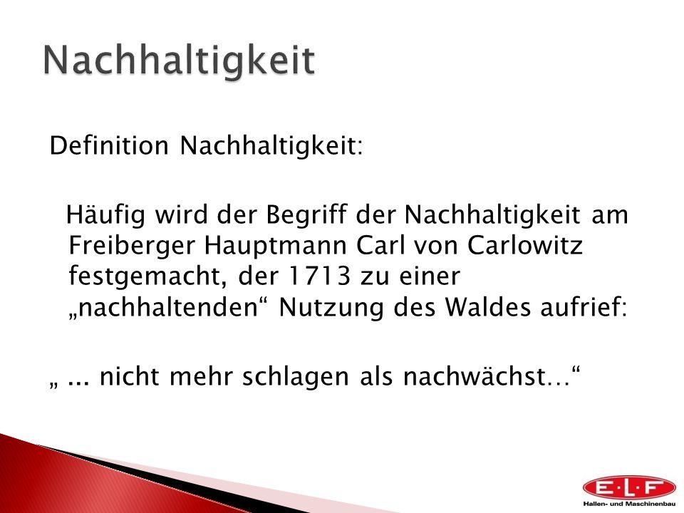 Definition Nachhaltigkeit: Häufig wird der Begriff der Nachhaltigkeit am Freiberger Hauptmann Carl von Carlowitz festgemacht, der 1713 zu einer nachha